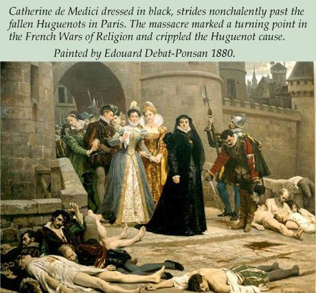 Catherine De Medici Painted walking past fallen Huguenots in Paris.