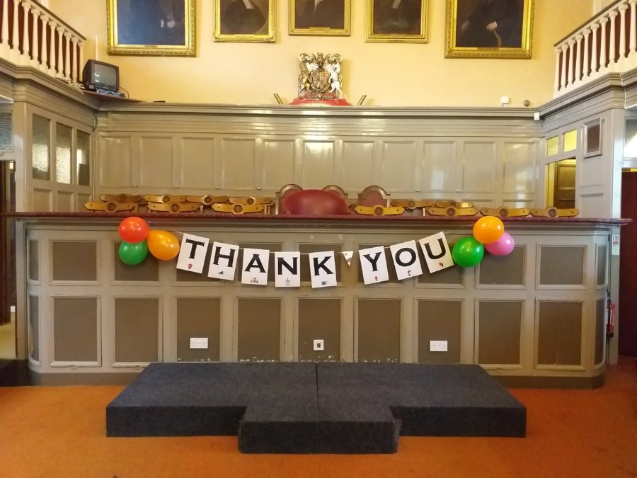 Thank you sign in Guildhall for volunteer evening.