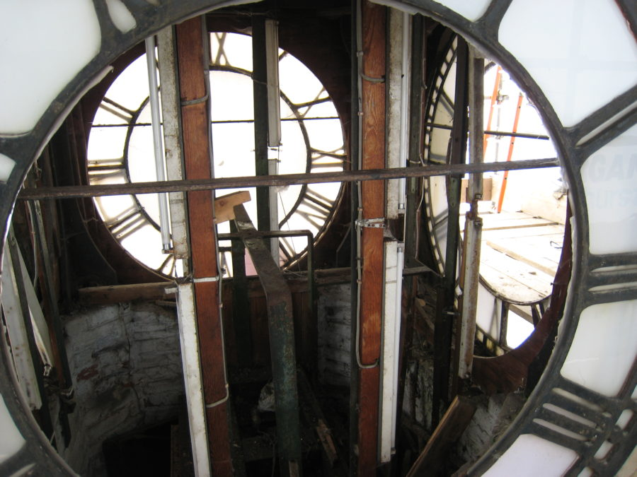 Albert Clock 8th April 2009, damaged faces and in inside the clock tower.